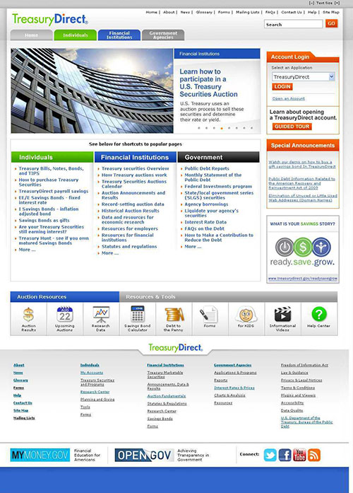 New Look of TreasuryDirect Home Page